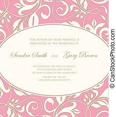 カード, 招待, 結婚式, ピンク