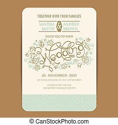 カード, 招待, 結婚式, 美しい