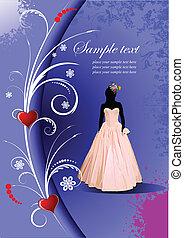 カード, 招待, 結婚式, 花嫁