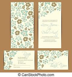 カード, 招待, 結婚式, 花