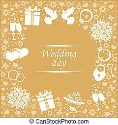カード, 日, 背景, 金, 結婚式
