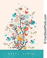 カード, 春, 挨拶, イラスト, 幸せ
