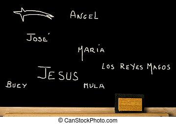 カード, 概念, クリスマス, 言語, スペイン語