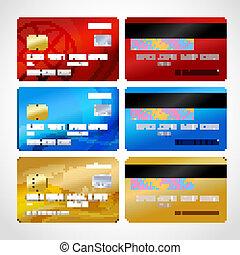 カード, 現実的, セット, クレジット