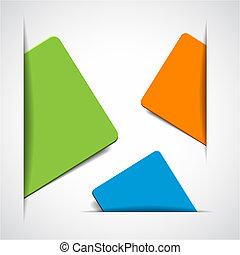 カード, 空, ペーパー, カラフルである, ベクトル