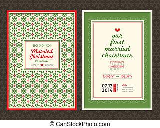 カード, 結婚式, クリスマス, テンプレート, 招待