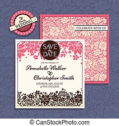 カード, 結婚式, 花
