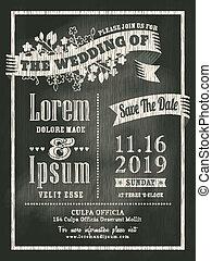 カード, 結婚式, 黒板, 背景, 招待