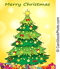 カード, 緑の木, クリスマス, テンプレート