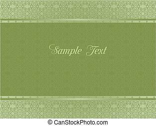 カード, 緑, デザイン, 背景, 招待