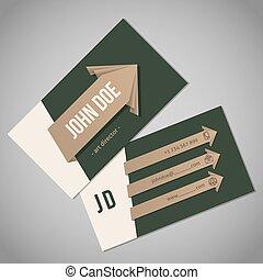 カード, 緑, リボン, 矢, ビジネス