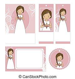 カード, 聖餐, セット, 女の子