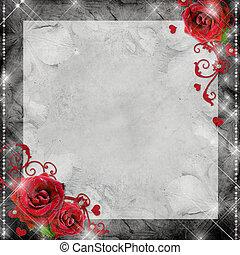 カード, 背景, ばら, 心, 挨拶, 灰色, 赤