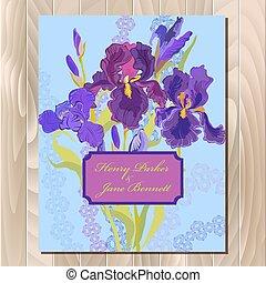 カード, 背景, イラスト, 結婚式, 花, ベクトル, アイリス, バックグラウンド。, 紫色