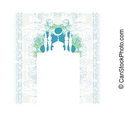 カード, 背景, -, ベクトル, ramadan, モスク, シルエット