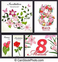 カード, 花, デザインを設定しなさい, あなたの