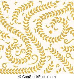 カード, 草, パッケージ, 招待, seamless, 結婚式, ベクトル, illustration., ∥あるいは∥, 葉, 花, design.