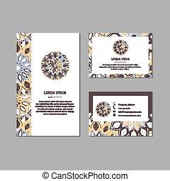 カード, 装飾用, mandala., セット, 花