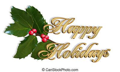 カード, 西洋ヒイラギ, クリスマス, 金, テキスト