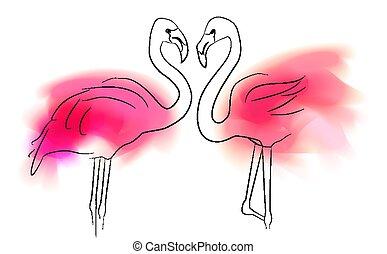 カード, 輪郭, ピンク, 愛, 白人のファミリー, relationship., しみになる, イラスト, 対, bird., アウトライン, ベクトル, 色, バックグラウンド。, フラミンゴ