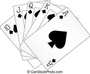 カード, 遊び, 手, ポーカー, 皇族, ストレートな高まり