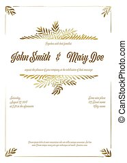 カード, 金, テンプレート, 結婚式の招待