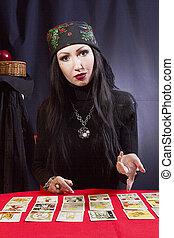 カード, 驚くべきもの, ジプシー, tarot, 女