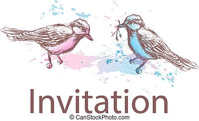 カード, 鳥, 挨拶, 手, 引かれる