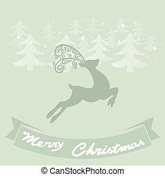 カード, 鹿, 挨拶, リボン, クリスマス