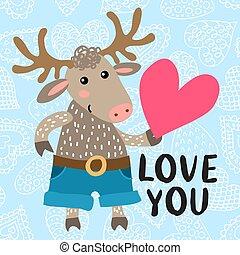カード, 鹿, 挨拶, 日, バレンタイン