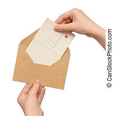カード, 黄色の包絡線, ブランク, 型, 手