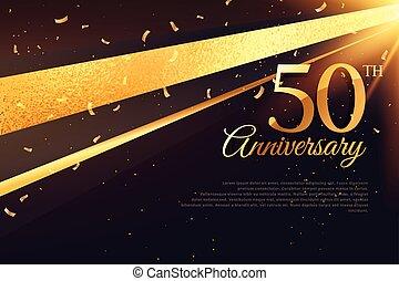 カード, 50th, 記念日, テンプレート, 祝福
