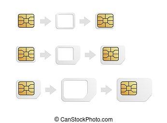 カード, adapter., 現実的, nano, 電話, 正常, 変換器, set., sim-card, nano, micro, sim, esim, micro