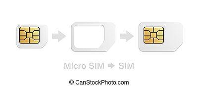カード, adapter., 電話, kit., 変換器, sim-card, micro, sim, 基準, 現実的