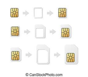 カード, adapter., 電話, nano, 正常, 変換器, set., sim-card, nano, micro, sim, esim, micro