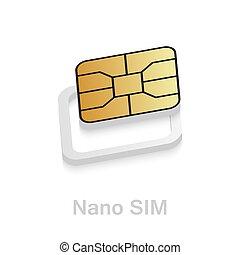 カード, adapter., 電話, nano, kit., 変換器, sim-card, sim, esim, 現実的