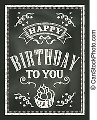 カード, birthday, デザイン, 黒板, 背景