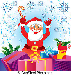 カード, claus, クリスマス, santa