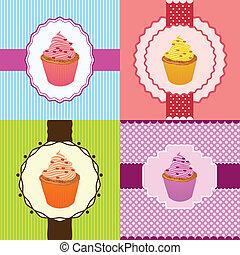 カード, cupcake, 招待
