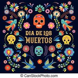 カード, de, moertos, los, 旗, 死んだ, フライヤ, 休日, パーティー, ポスター, カラフルである, 祝祭, flowers., 日, メキシコ人, dia, 挨拶
