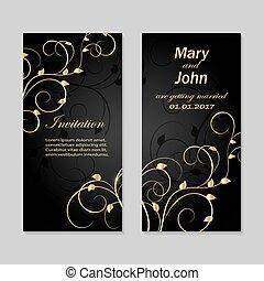 カード, design., セット, 招待, 結婚式