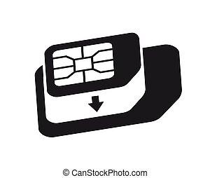 カード, icon., 電話, 変換器, sim-card, micro, シンボル。, sim, アダプター, 基準