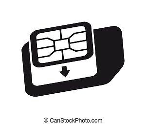 カード, icon., 電話, nano, 変換器, sim-card, micro, シンボル。, sim, アダプター