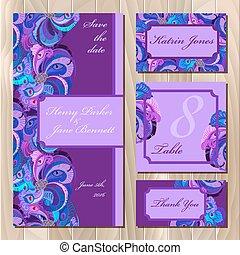 カード, printable, set., 結婚式, 羽, 孔雀, イラスト, ベクトル
