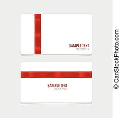 カード, ribbon., ベクトル, illustration., 赤