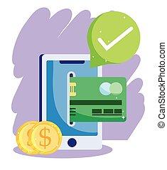 カード, smartphone, コイン, 支払い, ecommerce, オンラインで, モビール, 印, 買い物, クレジット, app, 点検, 銀行, 市場