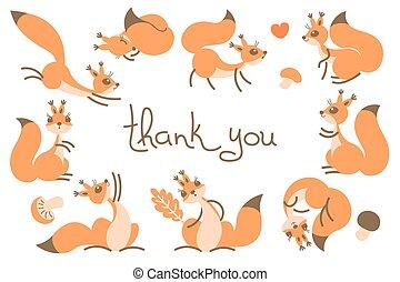 カード, squirrels., ありがとう, かわいい