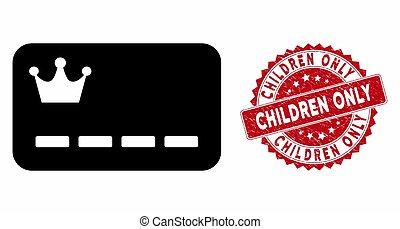 カード, vip, 傷付けられる, 子供, アイコン, 切手, ∥たった∥