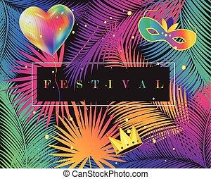 カーニバル, ベクトル, グリーティングカード, 幸せ