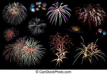 カーニバル, 上に, 花火, 空, 暗い, パーティー